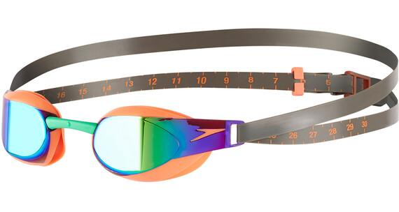 speedo Fastskin Elite Mirror Okulary pływackie pomarańczowy/oliwkowy